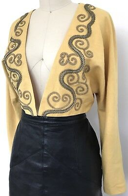 Vintage 1980s Teena Varigos Yellow Bronze Ribbon Trim Bolero Jacket 10