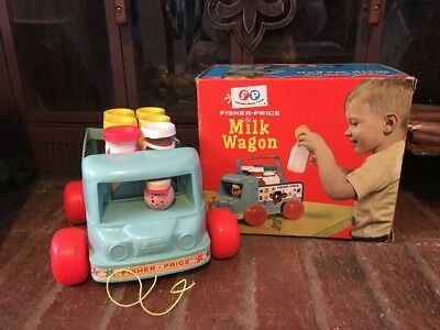 Wow!! Vtg. 1965 Fp Milk Wagon Wooden Truck With  6 Bottles Pull Toy # 131 W/box