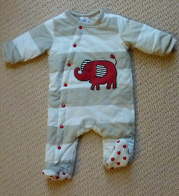 NWT Target Girls Boys Striped Elephant Padded Romper Coverall Size 000