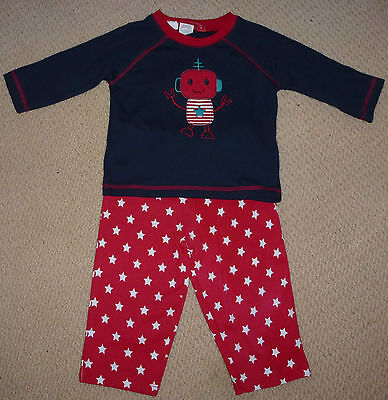 NWT Sprout Baby Boys Robot Stars Long Sleeved Top Pants Winter Pyjamas Size 0