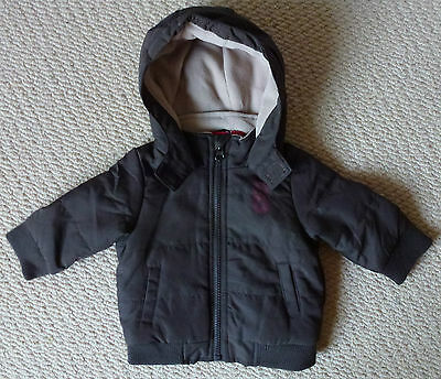 NWT Sprout Baby Boys Brown Zip Jacket Coat with Hood & Fleece Lining Size 00
