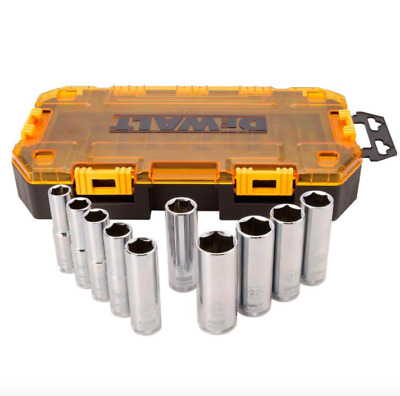 DEWALT 1/2 inch Drive Deep Socket Set 10 Piece Sockets Metric Hand Tool 6 Point