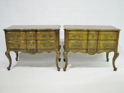 *PAIR* of Baker Furniture Country French Louis XV Style Oak Nightstands