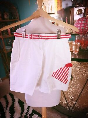 Vintage 1950s Shorts XS S White red trim novelty Rockabilly PinUp 50s