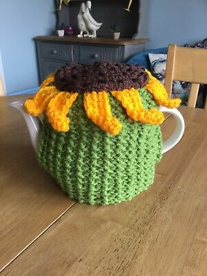 Hand Knitted SunFlower Tea Cosy To Fit A Medium Teapot