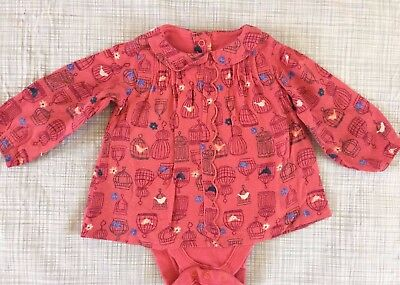 M&S long sleeved BIRD TUNIC TOP BODYSUIT 3-6 baby girl clothes AUTUMN WINTER