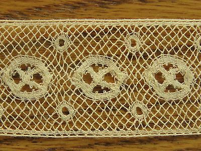 "Antique Lace Trim Insertion Edging Art Deco Yellow crafts sewing 36"" x 1 1/8"""