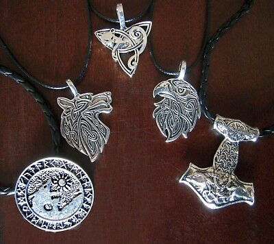 Wolf Eagle Fox Triquetra Goat Mjolnir Pendant Celtic Runes Norse Viking Strength