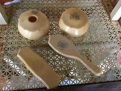 Vintage Ivoroyd 4 Pc Vanity Set - Makeup Brush Monogram