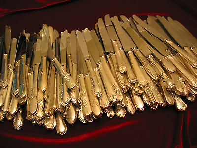 Vintage Silverplate Dinner Knife Craft Lot of 75 Hollow Handle Stainless Blades