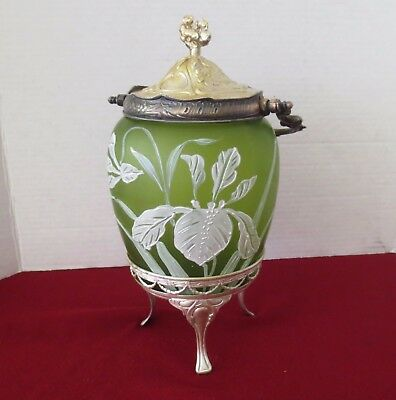 Antique H.painted French Art Glass  Green Jar With Silver Plate Lid & Stand