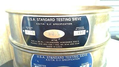 8 Inch USA Standard Testing Sieve ASTM E-11 NO. 5 ( MM 4.0) ( Inches .157) ATM
