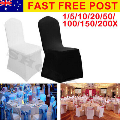 1-200 White Chair Covers Full Seat Cover Spandex Lycra Stretch Banquet Wedding