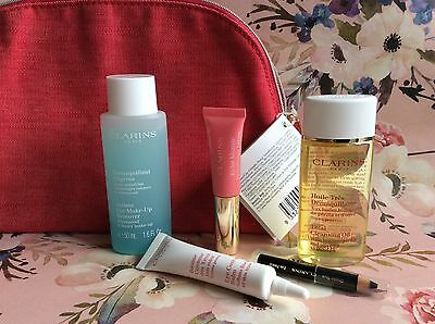 Clarins Gift Set purse eye balm pencil remover cleansing oil instant light lip