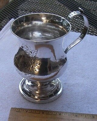 Large COIN SILVER FOOTED MUG-Presentation Engraving-Unmarked-Ca 1830