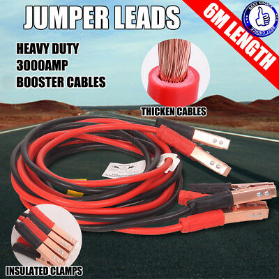 3000AMP 6M Jumper Leads Booster Cables Car Truck Protected Battery Heavy Duty AU