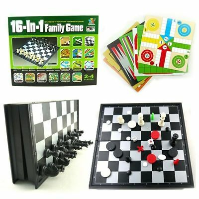 16-in-1 Family Games Board Chess Checkers Reversi Solitaire Snakes & Laddes Set