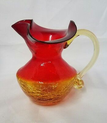 Vintage Blenko Amberina Tangerine Crackle Glass Pitcher Mid Century Hand Blown