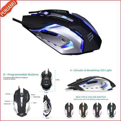 LINGYI PC Gaming mouse 4 Adjustable DPI Levels 6 Programmable Buttons LED Light