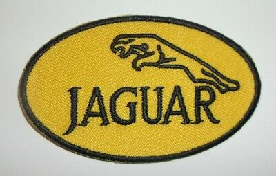 "Jaguar Patch~British Car Auto Racing~GOLD~1 7/8"" x 3""~Embroidered~Iron Sew On"