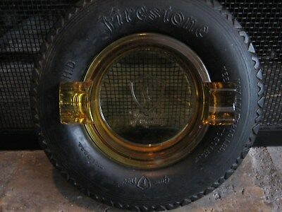 Firestone Gum Dipped Rubber Tire Ashtray 32 X 6 H.d. Amber Glass