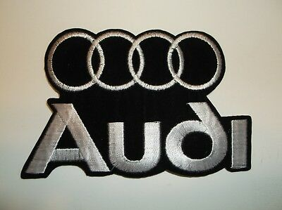 "Audi Motors Patch~German Car Auto Racing~4 5/8"" x 3""~Embroidered~Iron Sew On"