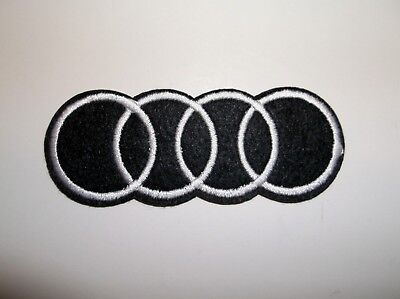 """Audi Motors Patch~German Car Auto Racing~3 1/4"""" x 1 3/8""""~Embroidered~Iron Sew"""