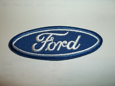 """Ford Motors Patch~Car Auto Racing~3 5/8"""" x 1 15/16""""~Embroidered~Iron Sew On"""