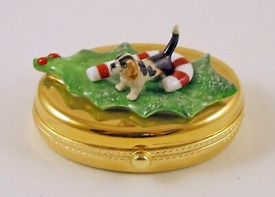 New French Limoges Trinket Box Cute Basset Hound Dog Puppy On Christmas Holly