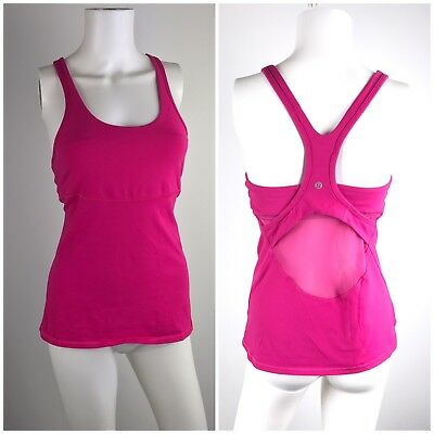 Lululemon Athletica Womens Pink Tank Top Size 8 Mesh Racer Back Yoga Fitness