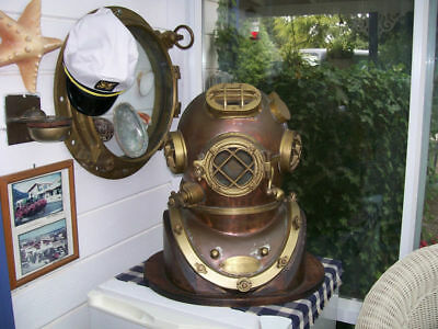 Vintage Brass & Copper Diving Helmet Table Divers Decor Scuba SCA US Navy Mark