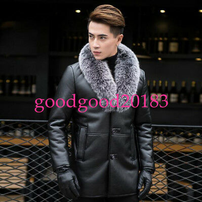 Luxury mens Big Fur Collar business Leather Warm Coats mid long Jackets outdoor