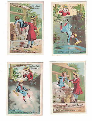 Set of 4 Lautz Brothers Acme Soap - Willie in the Well Series