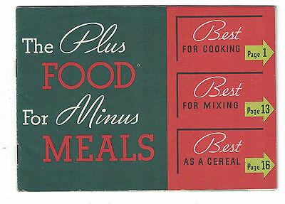 """Vintage Kellogg's All-Bran Recipe Booklet """"The Plus Foods for Minus Meals"""""""