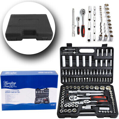 "108 Pieces Tools 1/2""&1/4""Sockets Drive Socket Set Ratchet Driver Case Tool Kit"