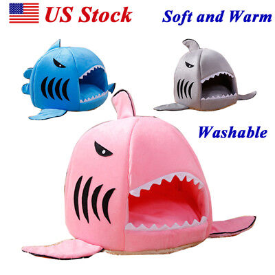Pets Dog Cat Bed House Shark Mouth Doggy Teddy Puppy Warm Kennel Dog Cushion Pad