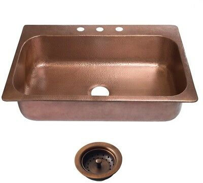 Copper Sink 33 In 3-Hole Single Bowl Kitchen Antique Copper Strainer Drain NEW