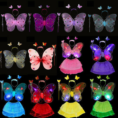 Girl's Kids Fairy Wings Butterfly Fancy Dress Up Costume Party Play 3/4 x Set