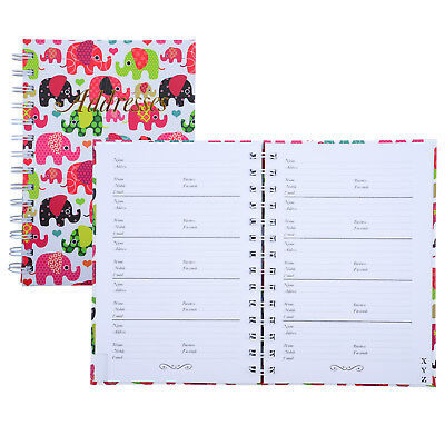 Cumberland Address Book 190 x 130mm Casebound - Elephant Design 72 Leaf