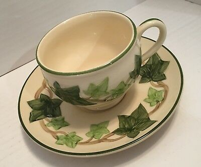 Vintage Franciscan Green Ivy Pattern Cup & Saucer 1940's