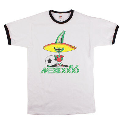 Mexico 86 classic football world cup mens ringer t-shirt retro unofficial NEW