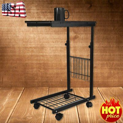 50lbs Height Adjustable Over Bed C Style Table Tabletop Tray Rolling Hospital EV