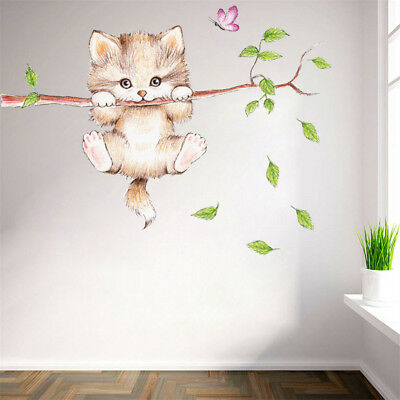 Gatos árbol rama mariposa interruptor de pared pegatina animal Art Sticker