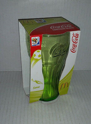 COKE COCA COLA South Africa FIFA 2010 LIME CONTOUR GLASS 'SAVE' NEW IN PACKAGING
