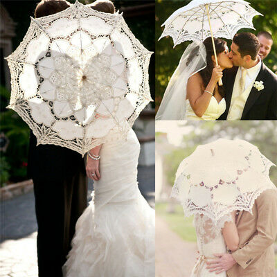 1x Victorian Lace Sun Parasol Umbrella Hand Fan Wedding Dancing Party Photo Show