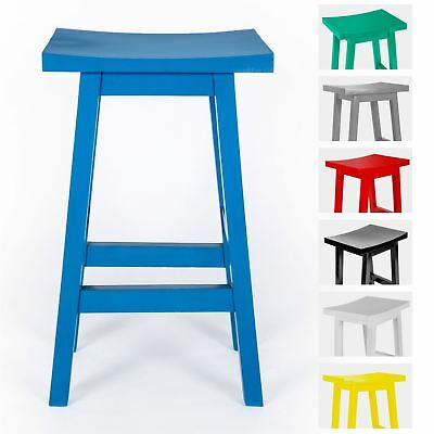 Solid Wood Barstool, Piet Design Wooden Stool Handcrafted from 100% Mango Wood