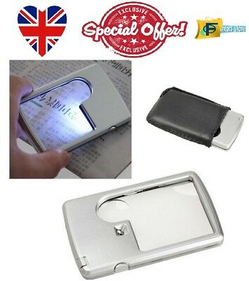 Pocket Magnifying Glass With LED Light For Reading Magnifier Credit Card Wallet