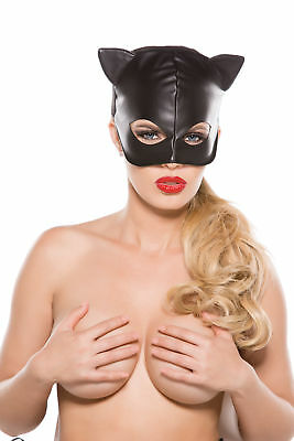 Black Faux Leather Cat Mask Halloween Costume Kitten Kitty Sexy Catwoman