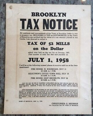 1958 Brooklyn Tax Collector Notice Paper Advertising Sign Government History