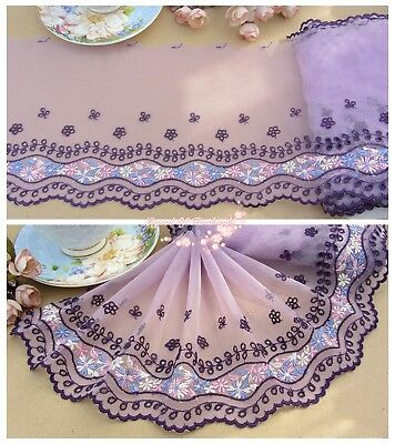 "7""*1Y Embroidered Floral Tulle Lace Trim~Purple+Pink+Blue+White~Perfect Start~"